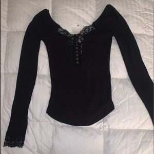 Free People RIBBED LACE Henley Top Shirt XS